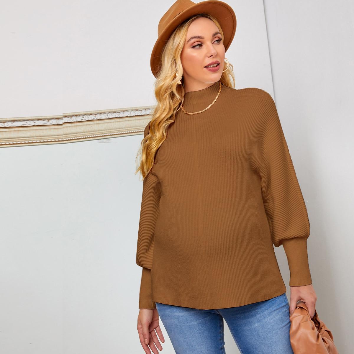 Трикотажный одноцветный повседневный свитеры для беременных