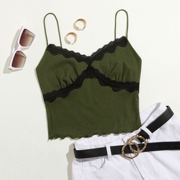Contrast Lace Detail Crop Cami Top, Army green