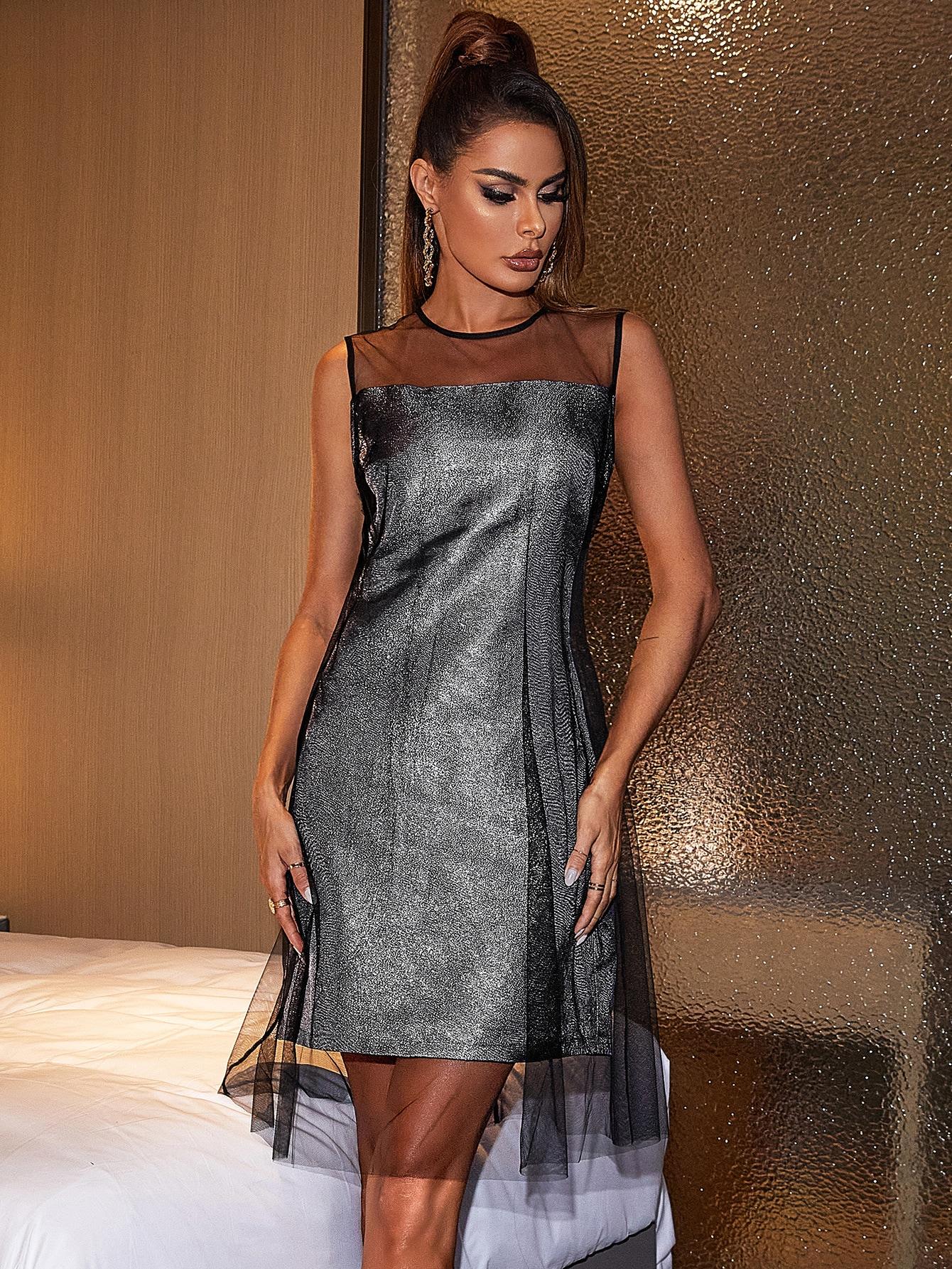 Keyhole Back Mesh Overlay Metallic Dress thumbnail