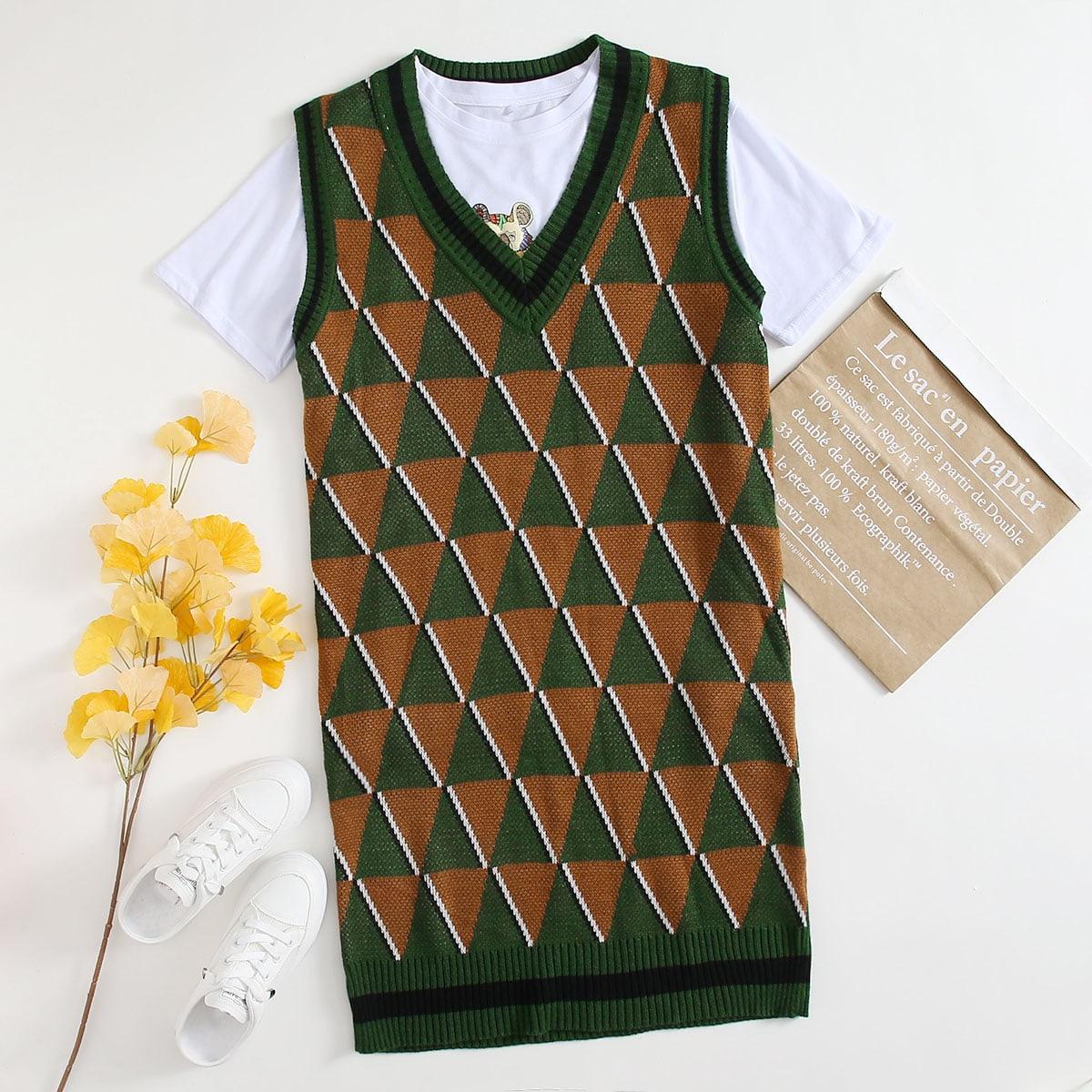 Полосатый повседневный свитер-платье размер плюс