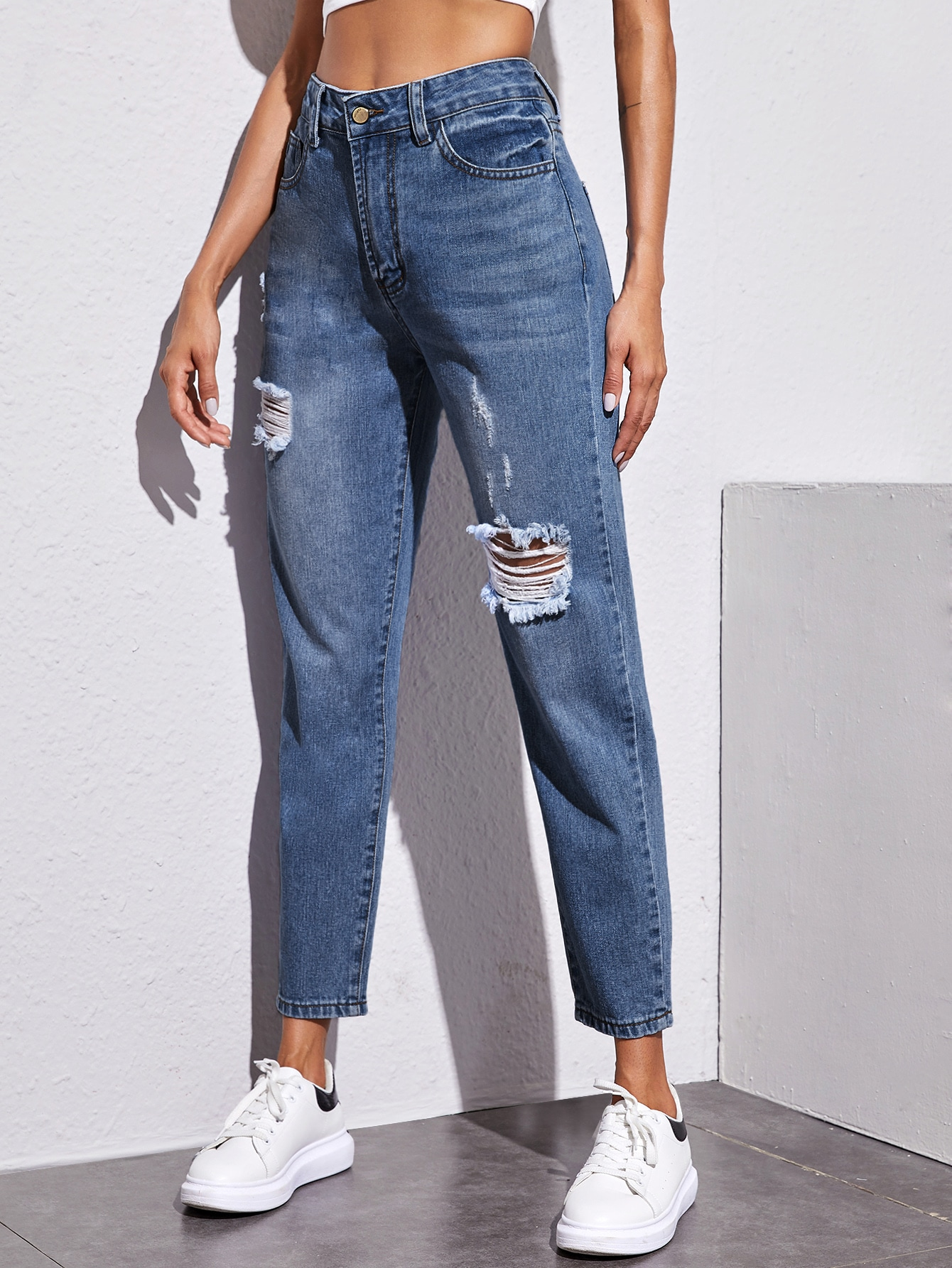 High Rise Mom Jeans Without Belt thumbnail