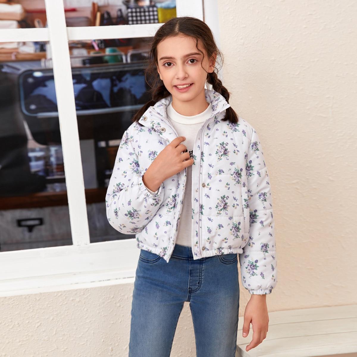 на молнии Цветочный Повседневный Куртки для девочек