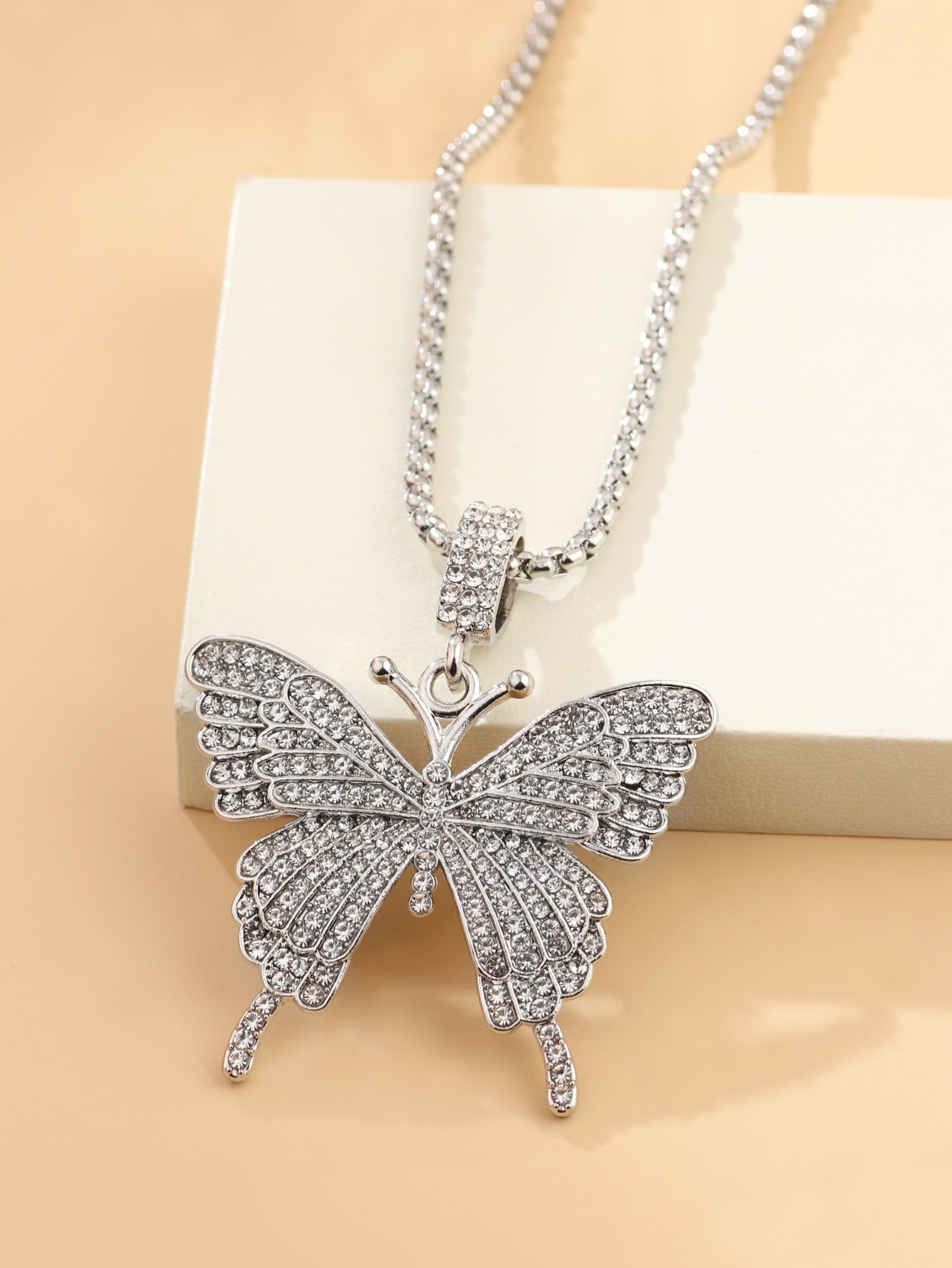 Rhinestone Decor Butterfly Charm Necklace thumbnail