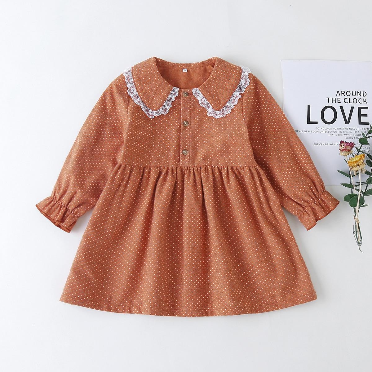 Платье в горошек с кружевной отделкой для девочек