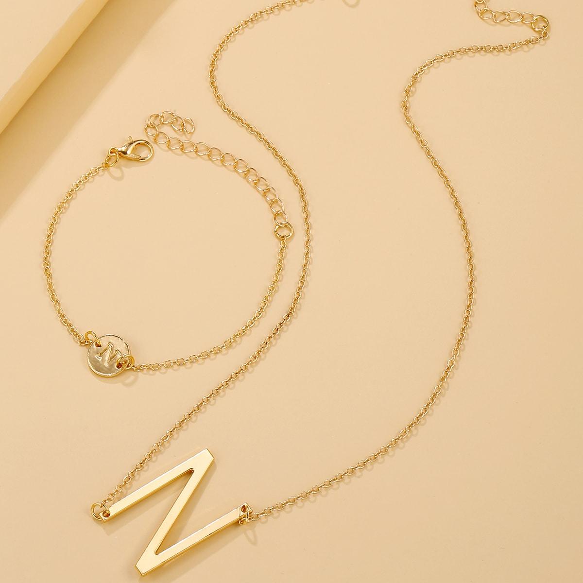 Halskette mit Buchstaben Anhänger & Armband