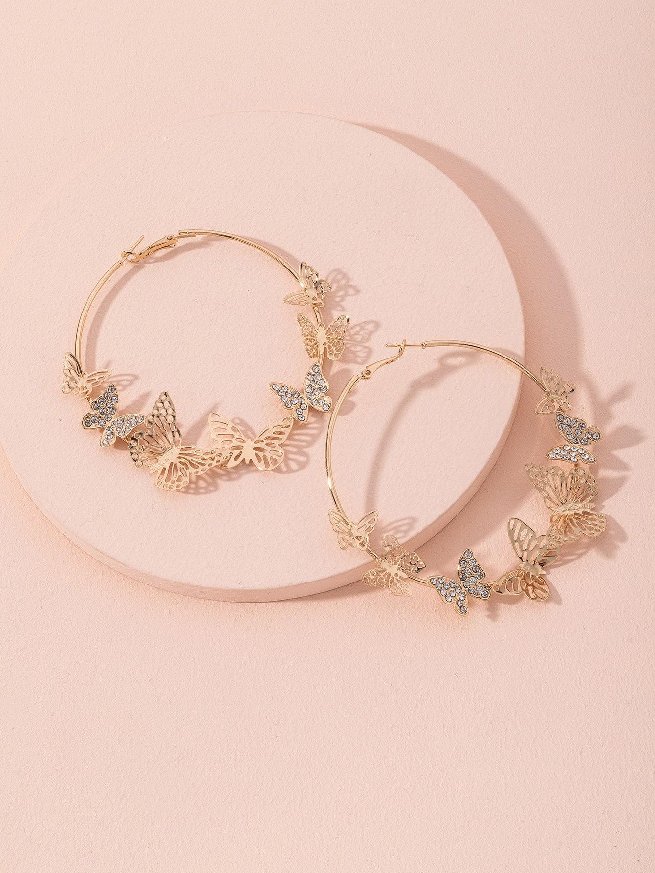 Серьги-кольца с бабочкамиswear18201030650