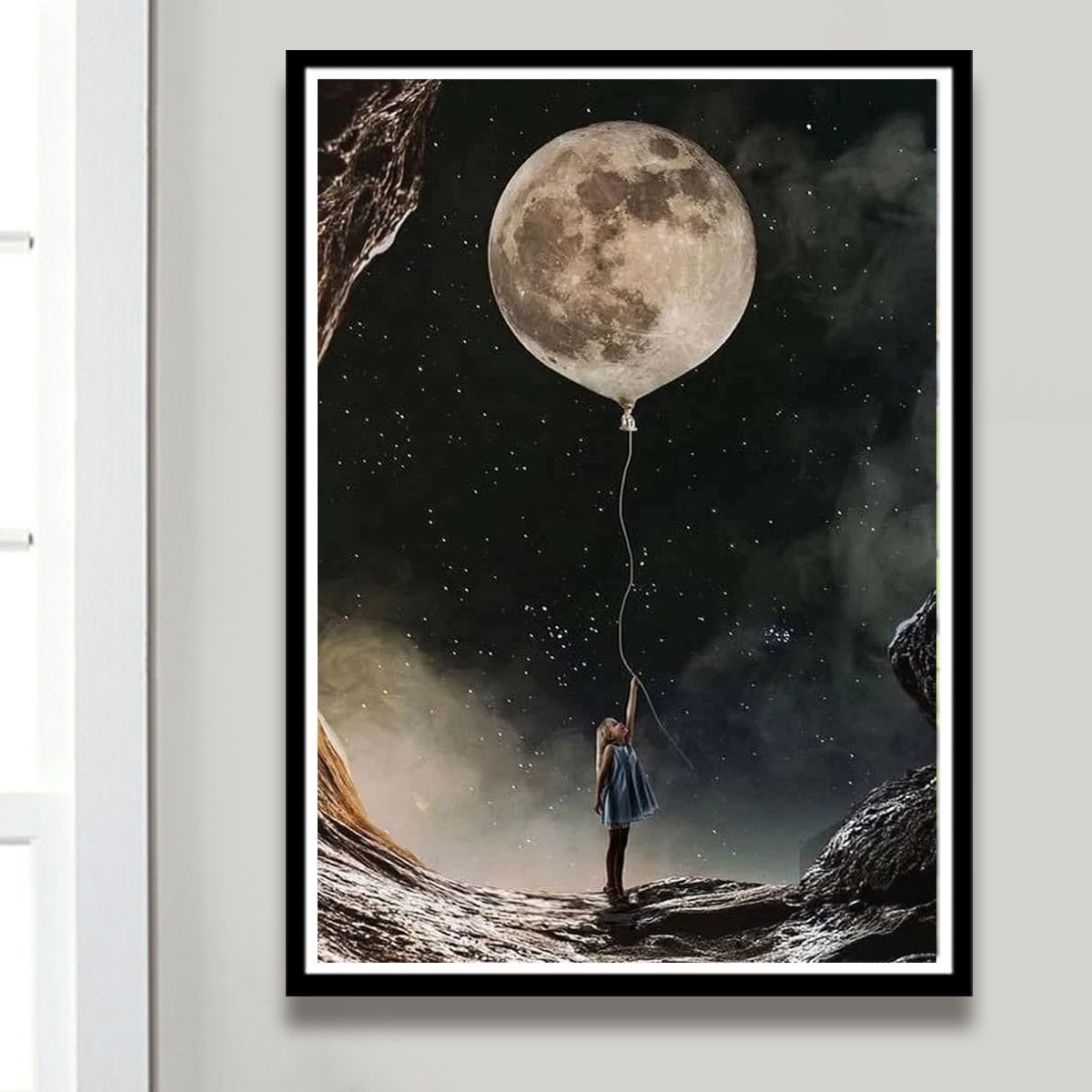 Алмазная картина с принтом луны без рамки