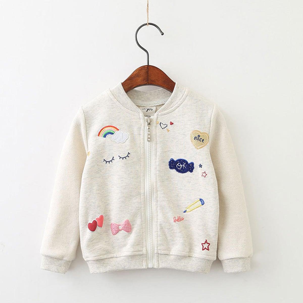 Куртка бомбер с мультипликационной вышивкой для девочек