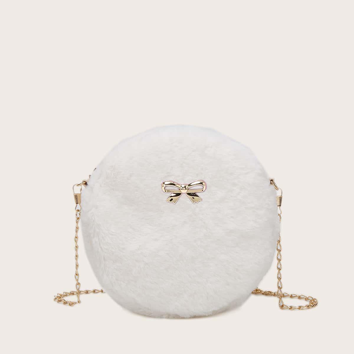 Плюшевая круглая сумка с металлическим бантом