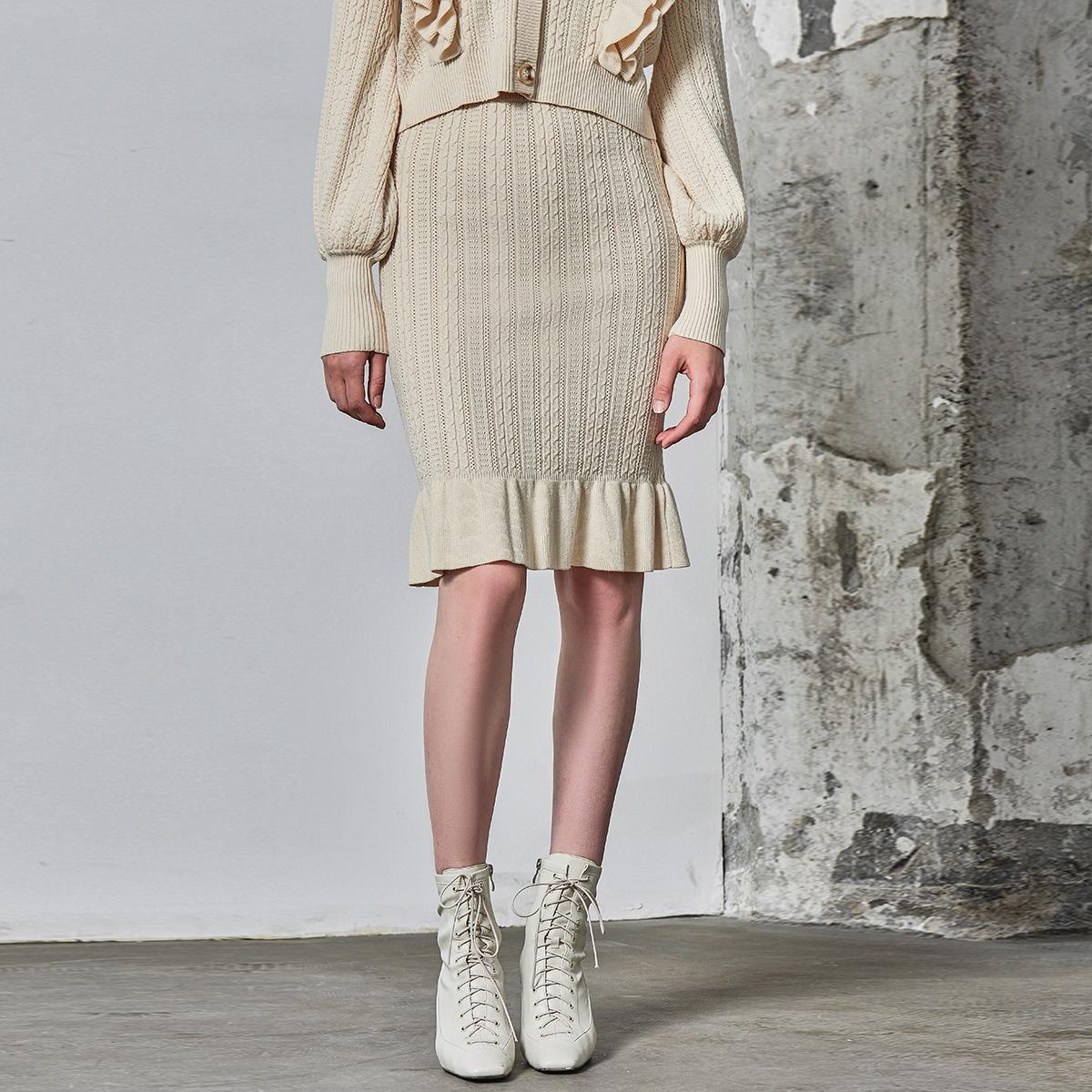 Вязаная юбка из вискозы с оборкой