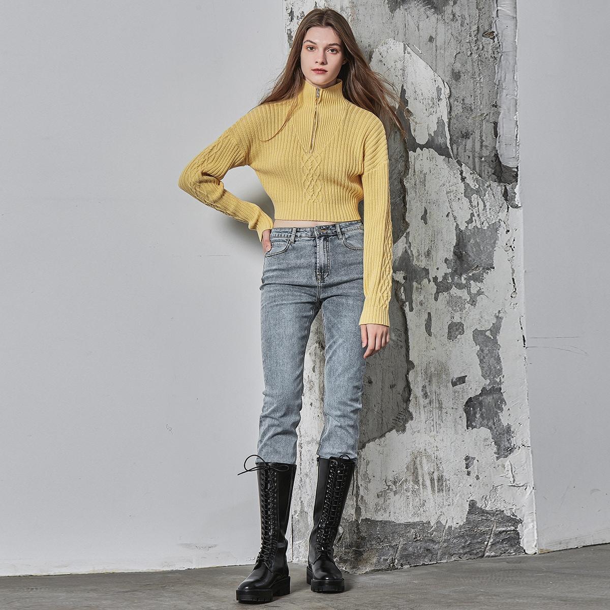 Jersey de hombros caídos corto de algodón