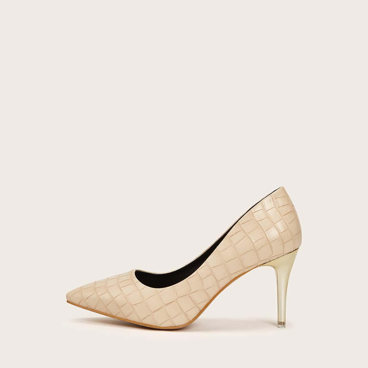 Туфли на высоком каблуке с крокодиловым узором