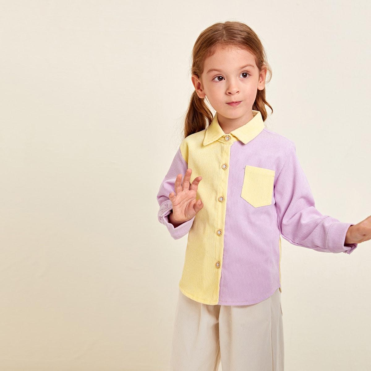 Пуговица контрастный цвет повседневный блузы для девочек