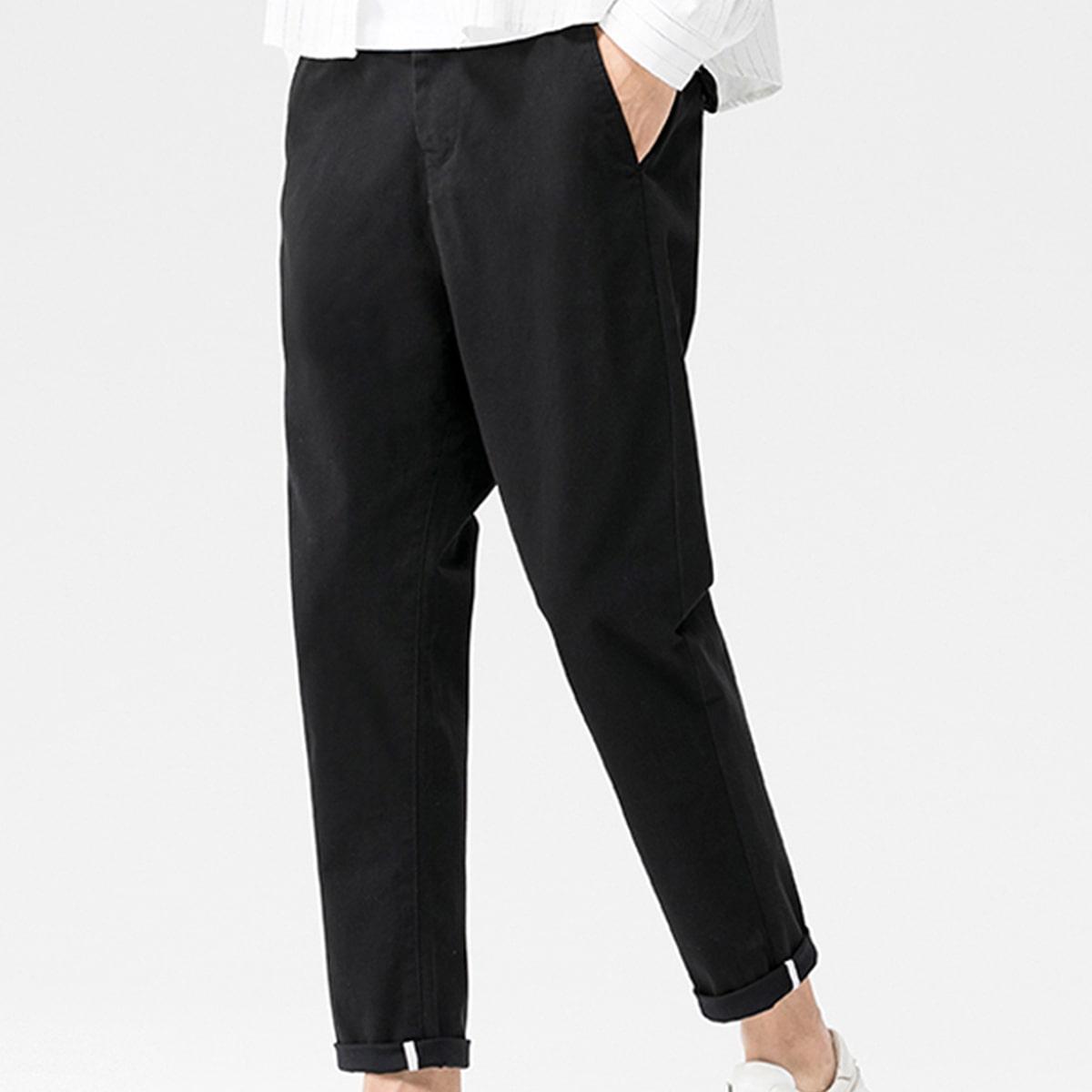 Карман одноцветный повседневный мужские брюки