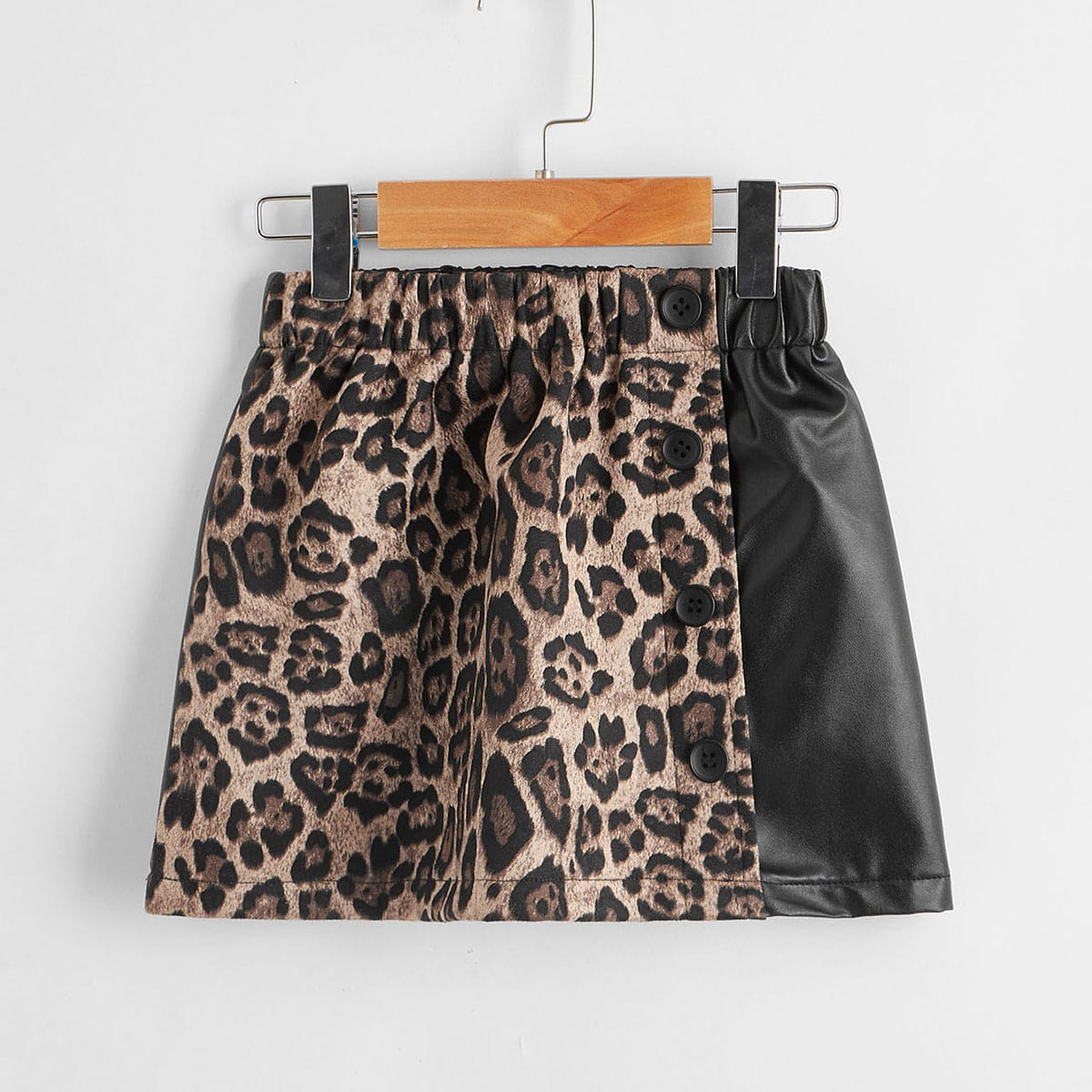 Пуговица леопардовый повседневный юбки для девочек