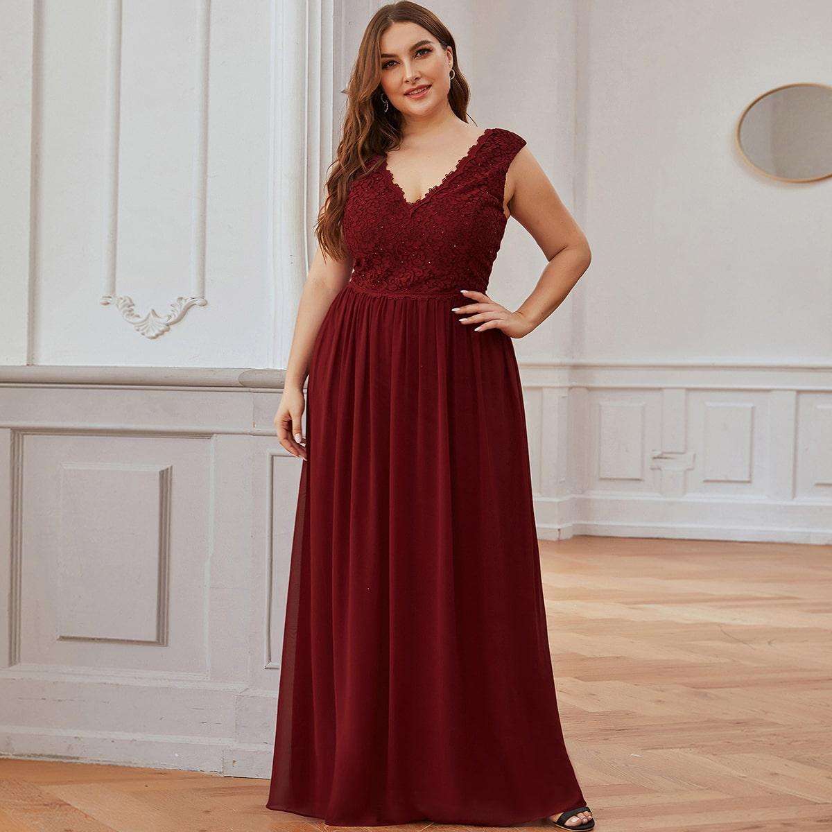 Контрастные кружева Одноцветный Очаровательный Платья размер плюс