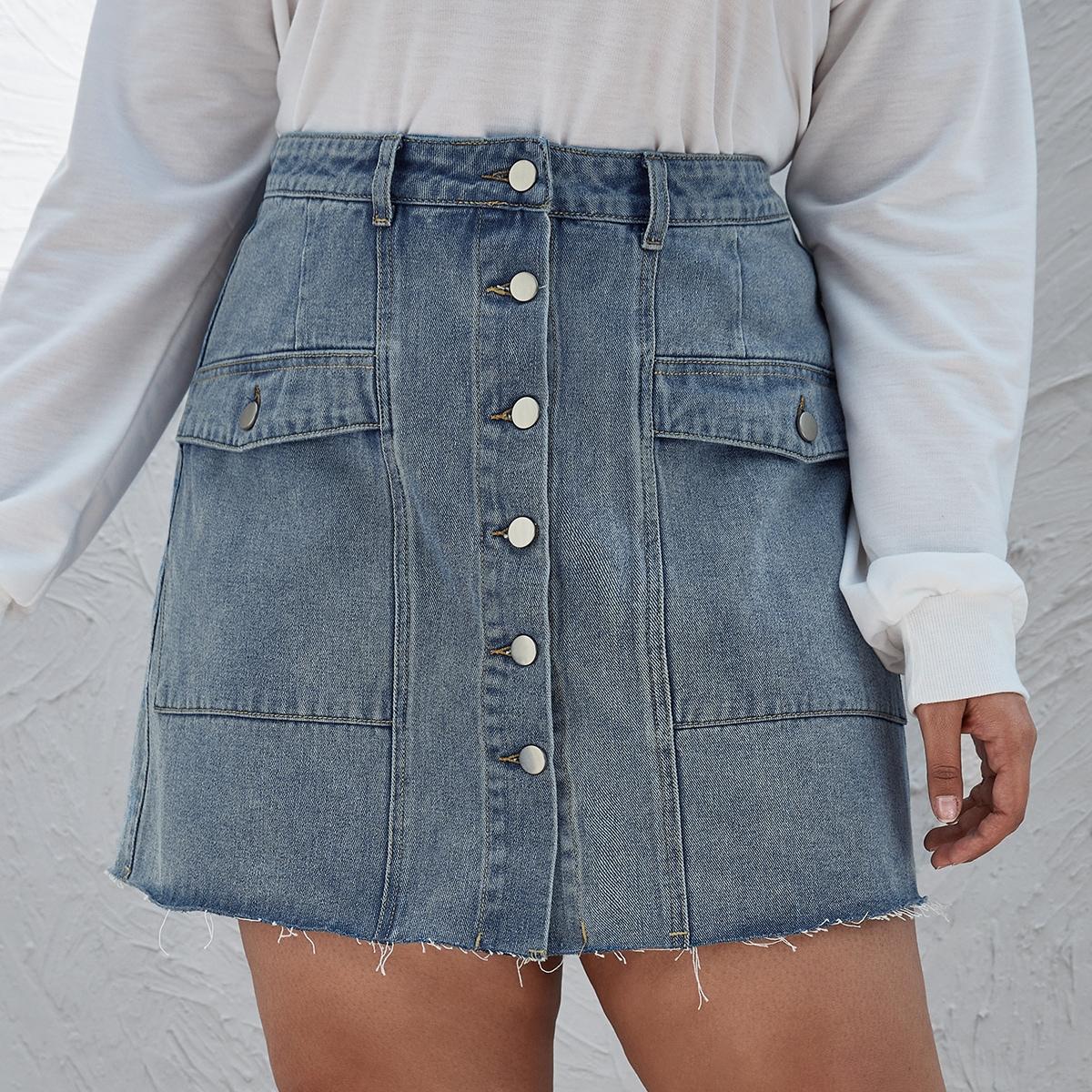 На пуговицах одноцветный повседневный джинсовые юбки размер плюс