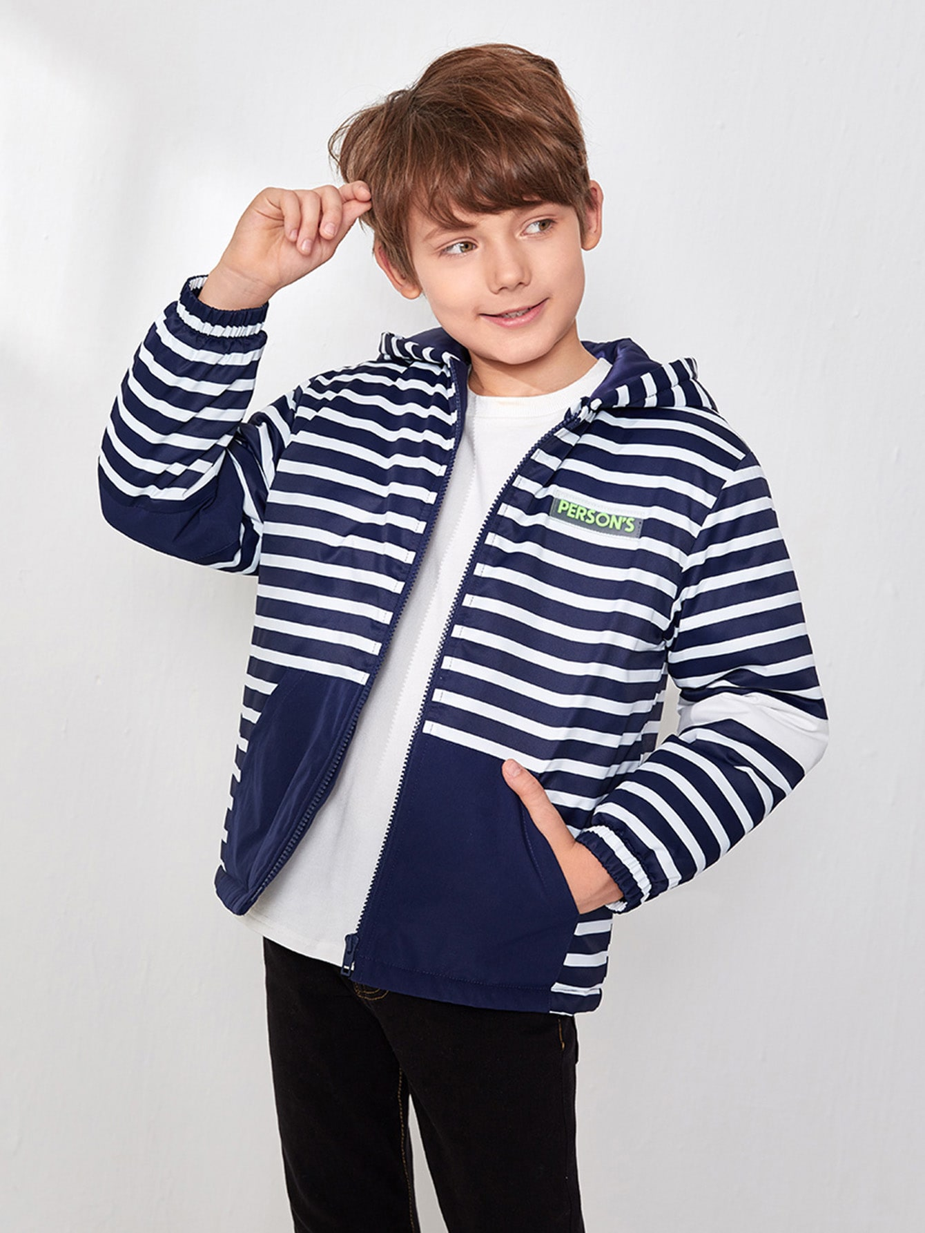 Boys Letter Patched Pocket Front Striped Hooded Jacket