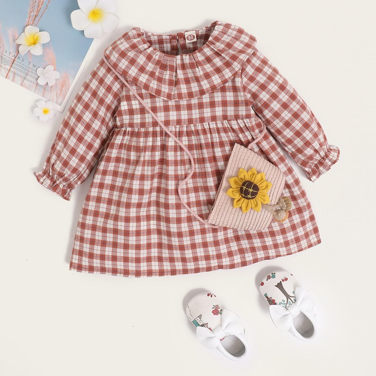 С оборками клетка институтский платья для малышей