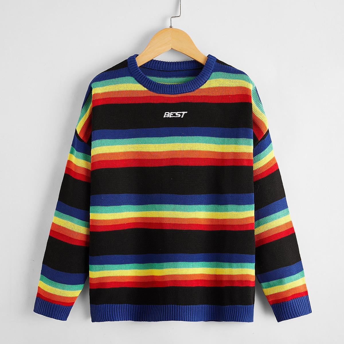 Радужные полосы повседневный свитеры для мальчиков