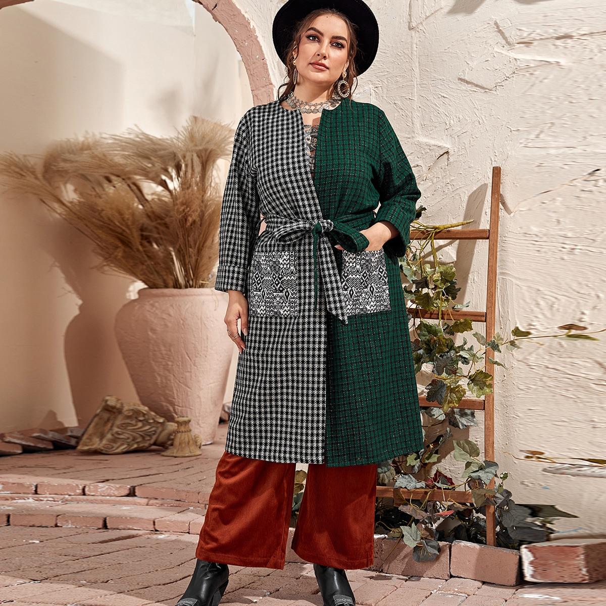С поясом этнический стиль элегантный кимоно размер плюс