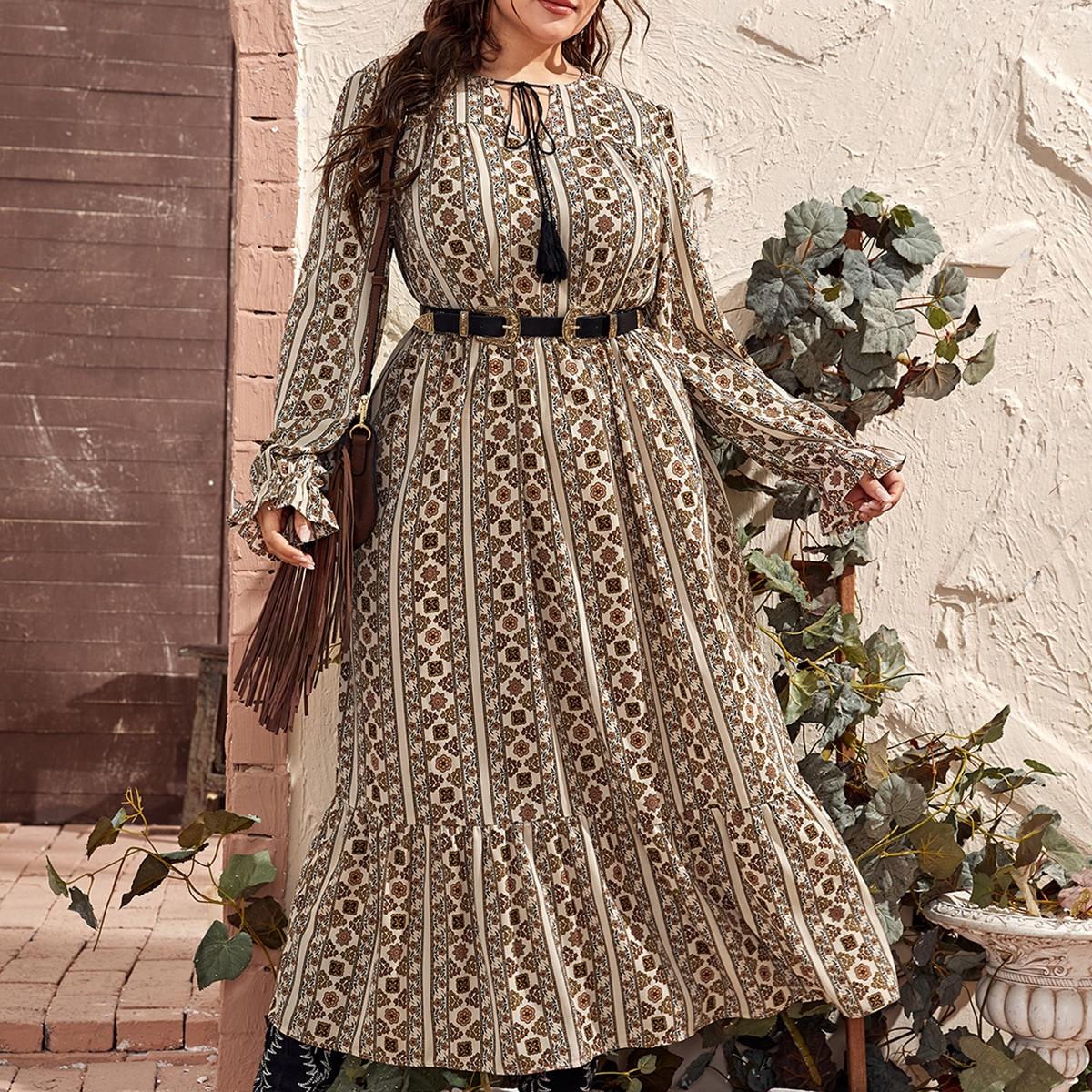 Платье размера плюс с цветочным принтом и воротником-бантом без пояса