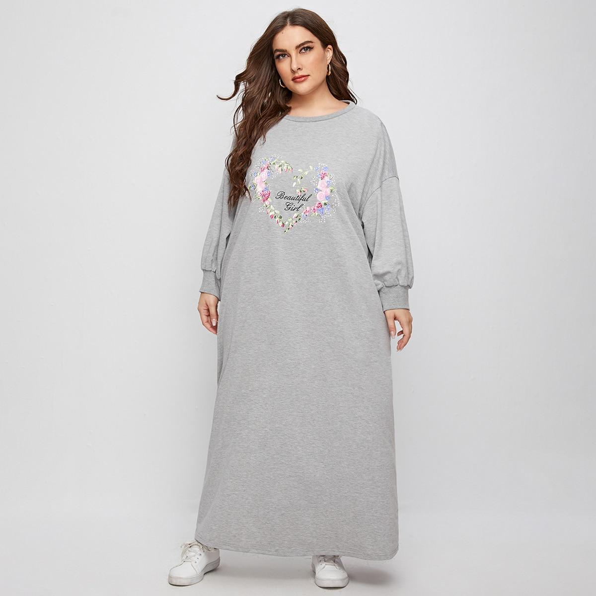 Платье-свитшот размера плюс с текстовым и цветочным принтом