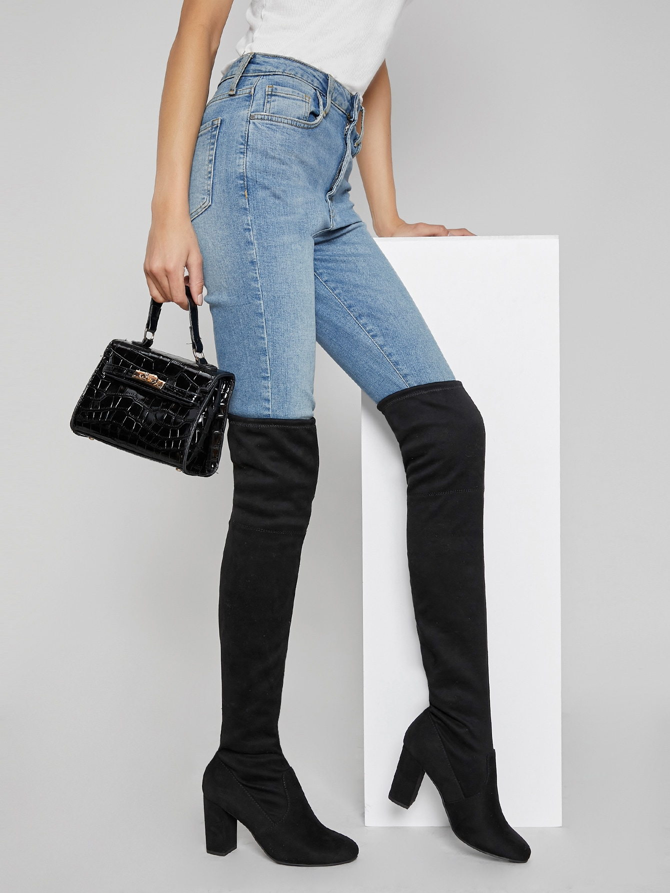 Faux Suede Thigh-High Block Heel Boots thumbnail