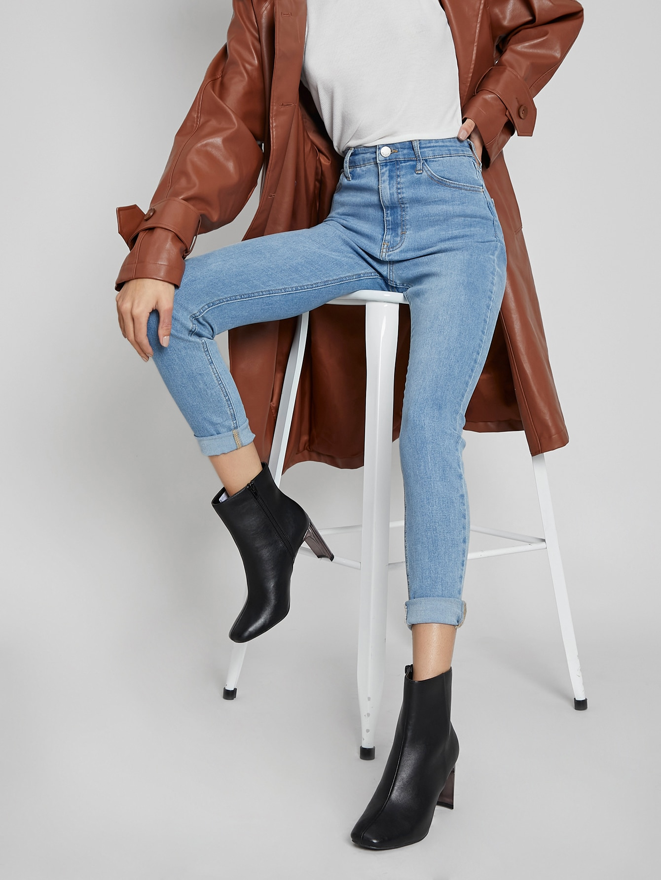Faux Leather Zip-Up High Heel Boots thumbnail