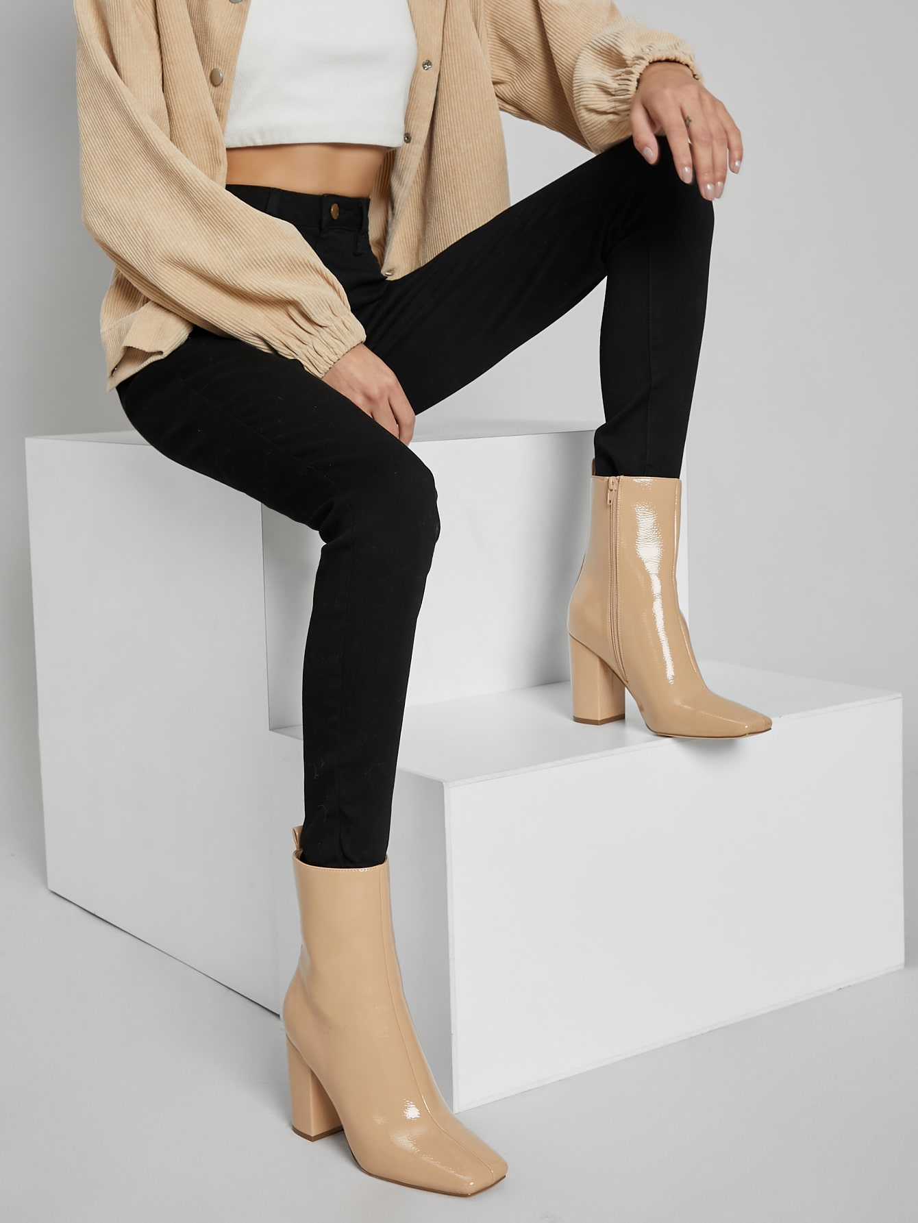 Faux Patent Leather Zippered High Heeled Boots thumbnail
