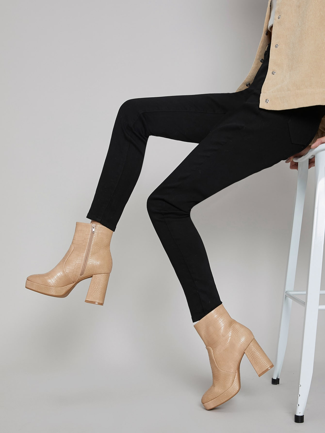 Vegan Croc Leather High Block Heel Platform Boots thumbnail