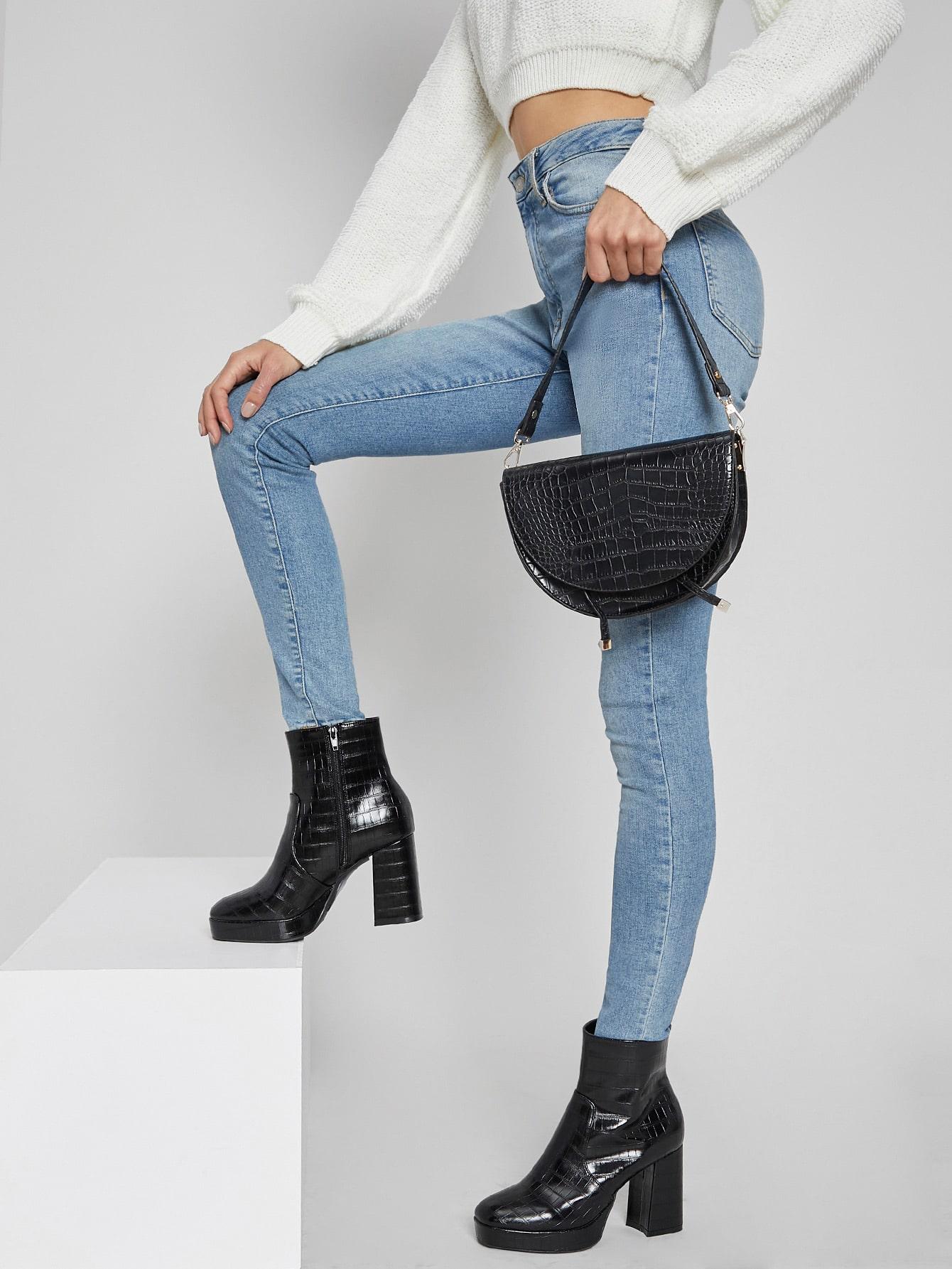 Faux Croc Leather Block Heel Platform Boots