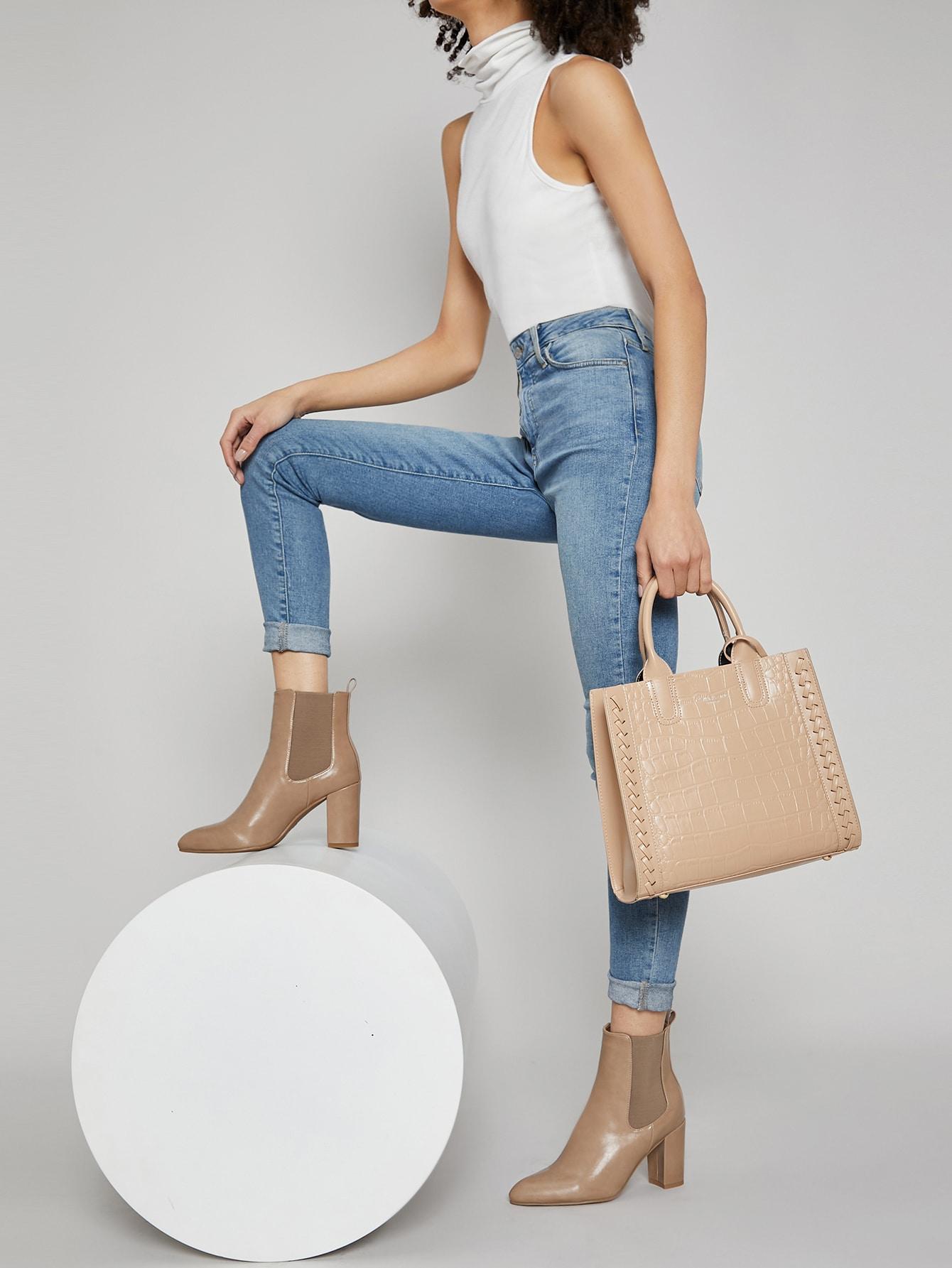 Vegan Leather Block Heel Ankle Chelsea Boots