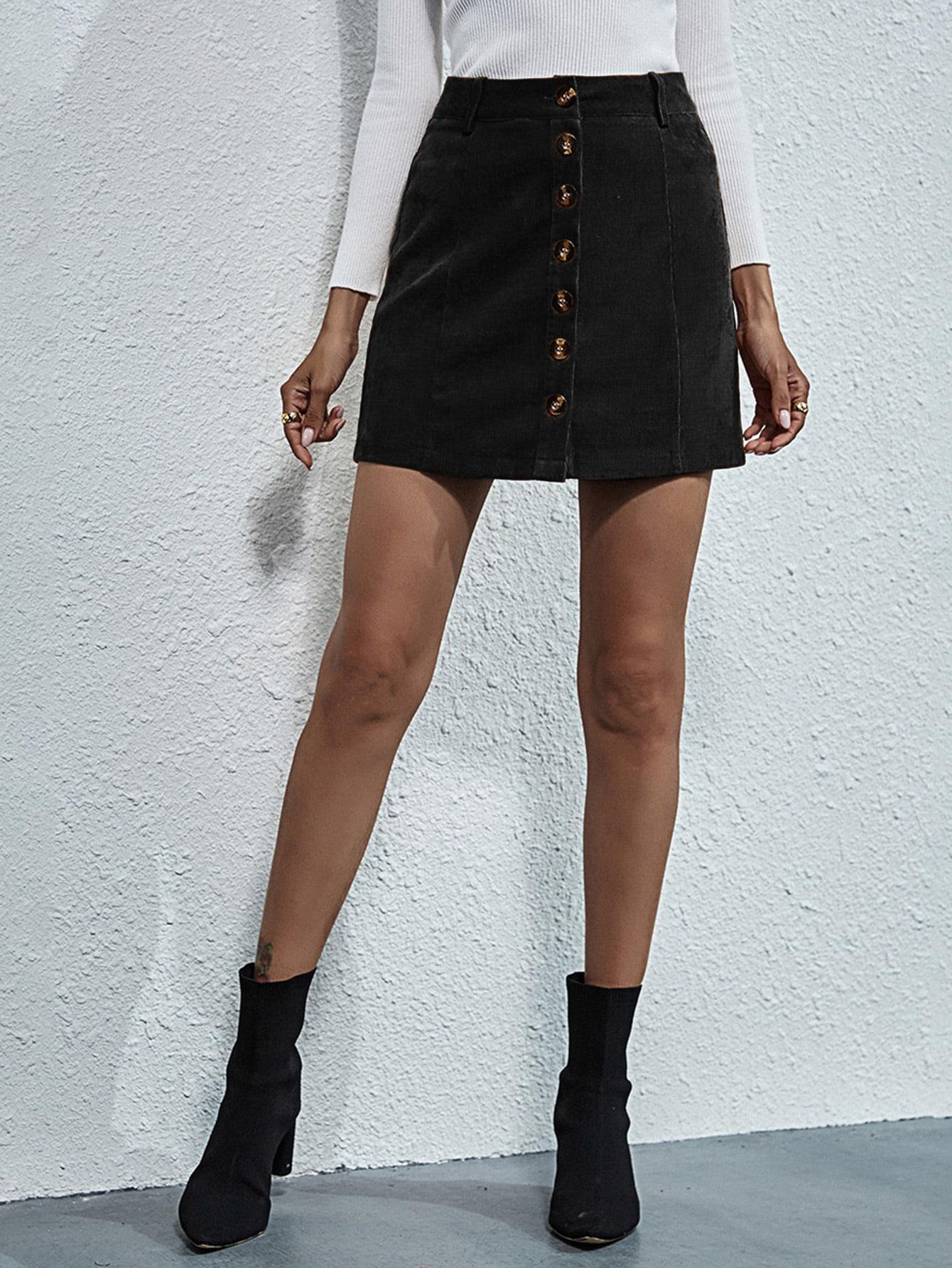 Button Front Corduroy Skirt thumbnail