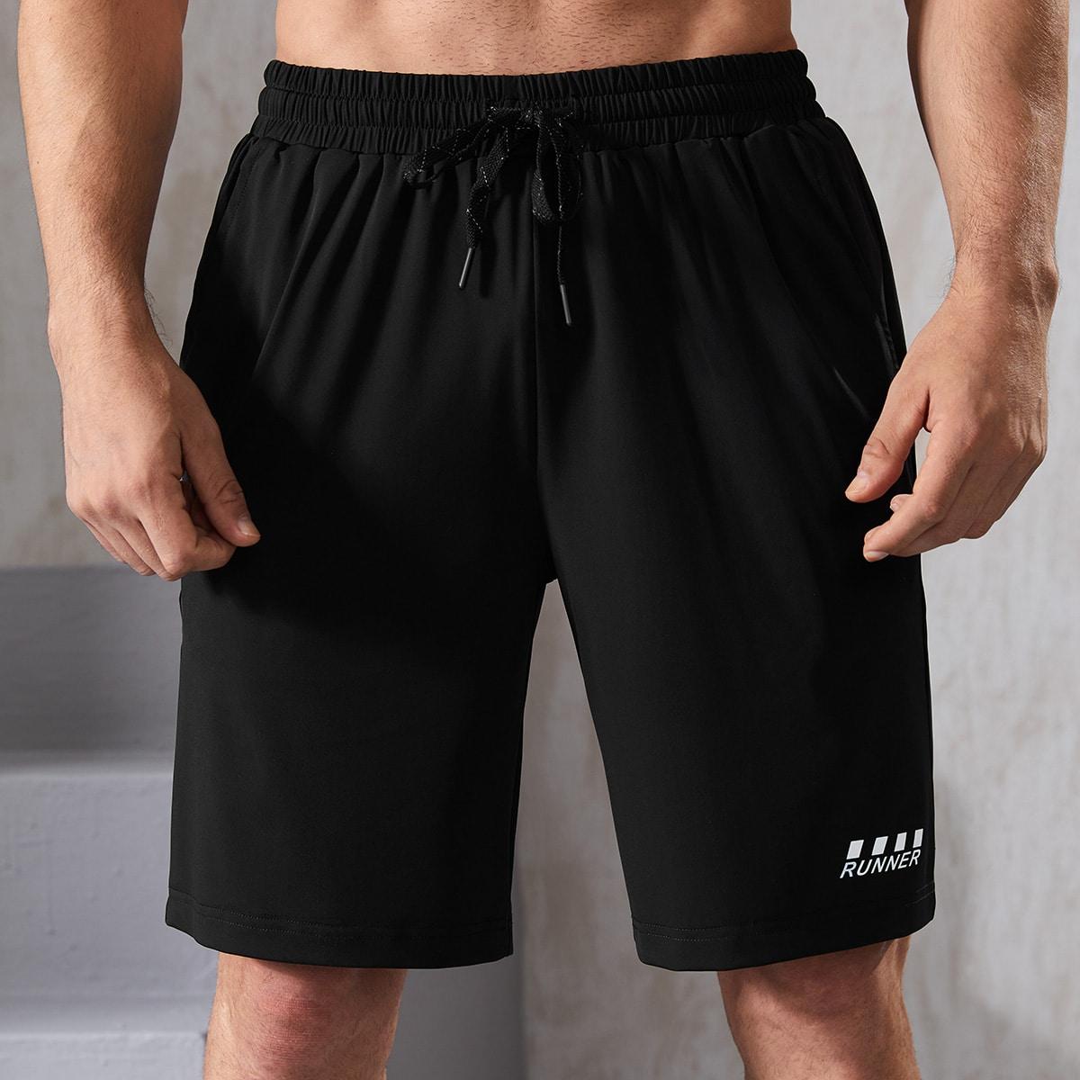 Мужские спортивные шорты на кулиске с текстовым принтом