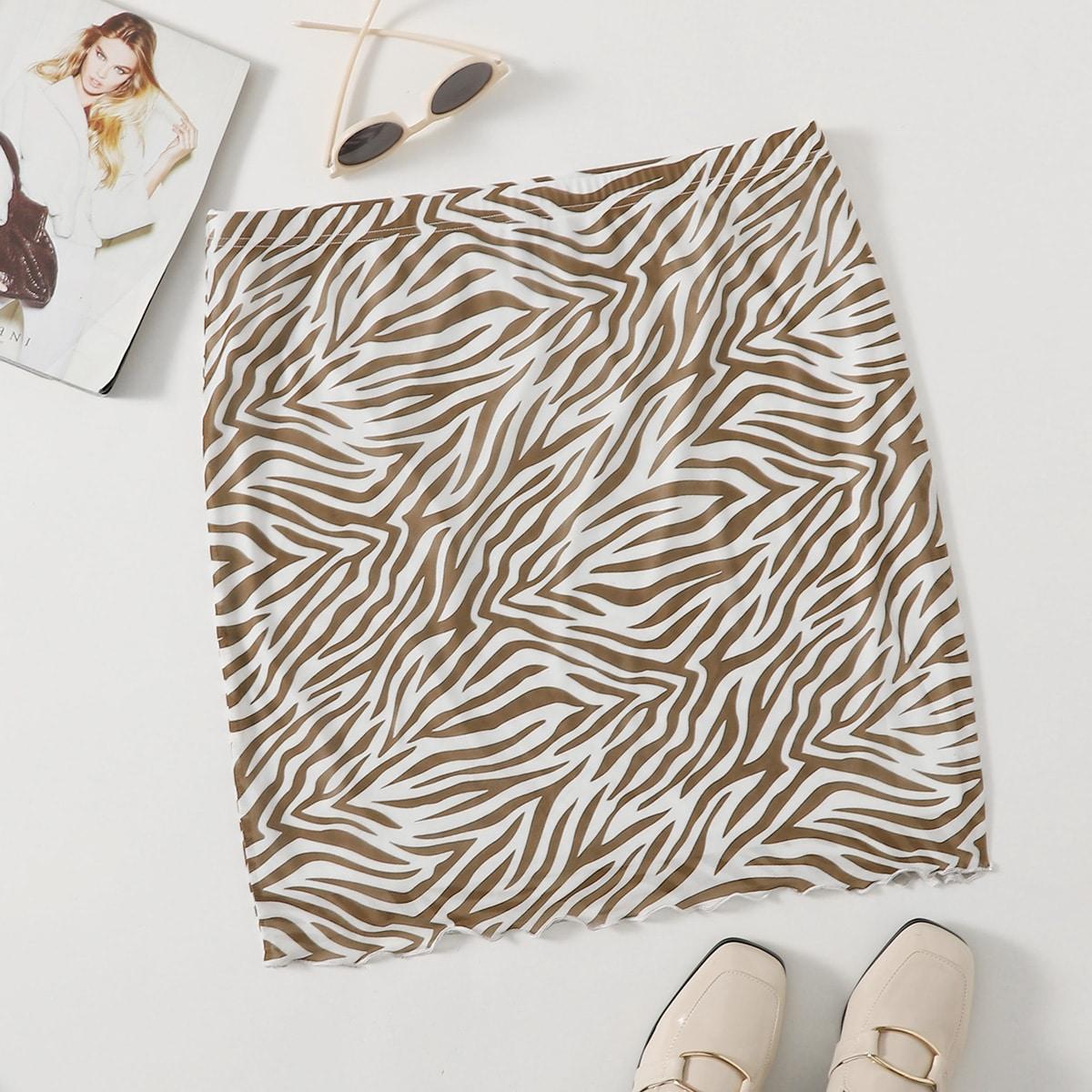 Сетчатая юбка размера плюс с зебровым принтом