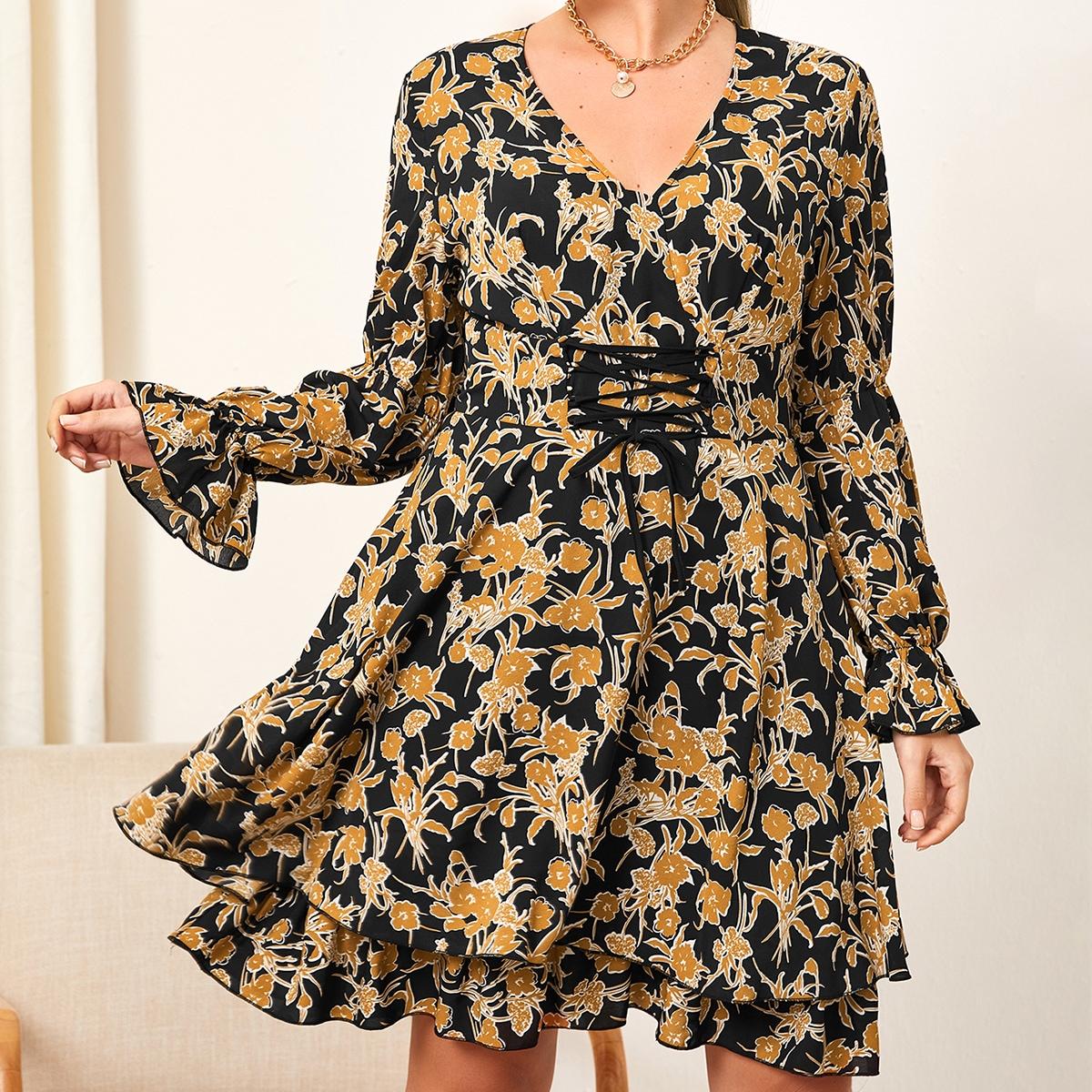 С оборками Цветочный Элегантный Платья размер плюс
