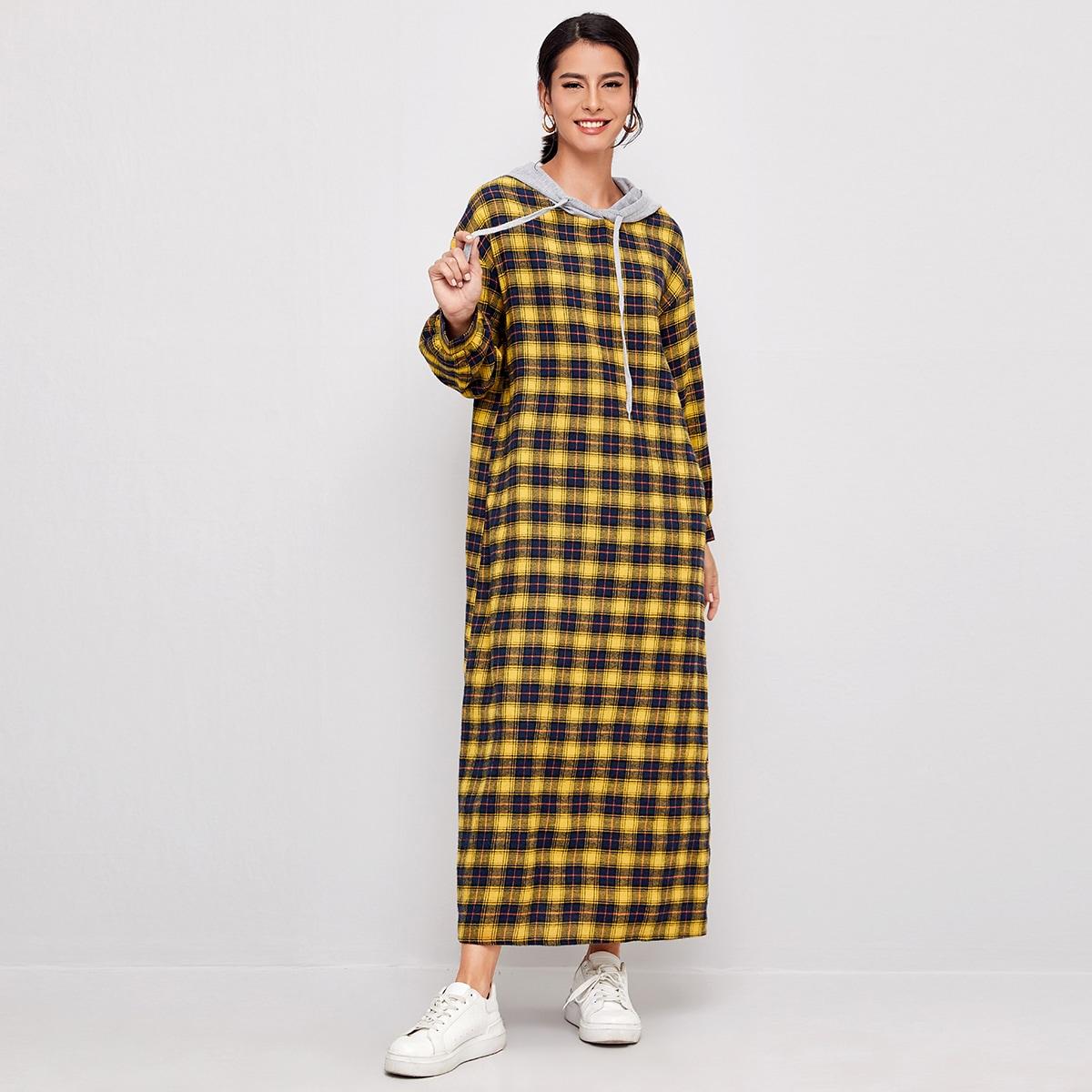 Платье на кулиске с капюшоном в клетку