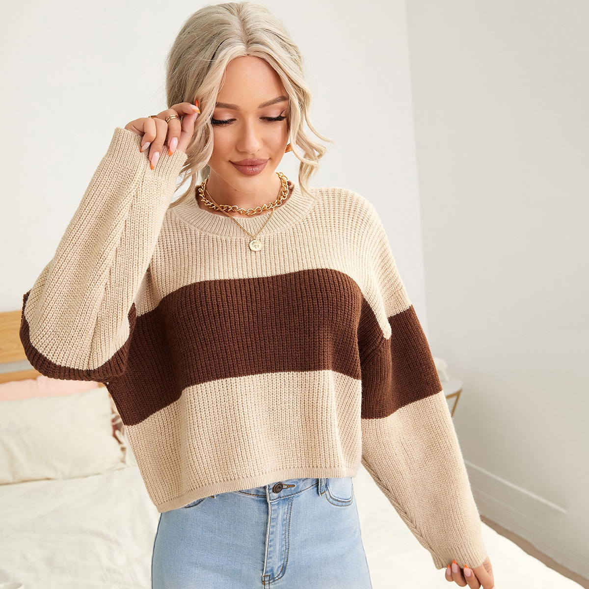 Cut And Sew Drop Shoulder Oversized Sweater