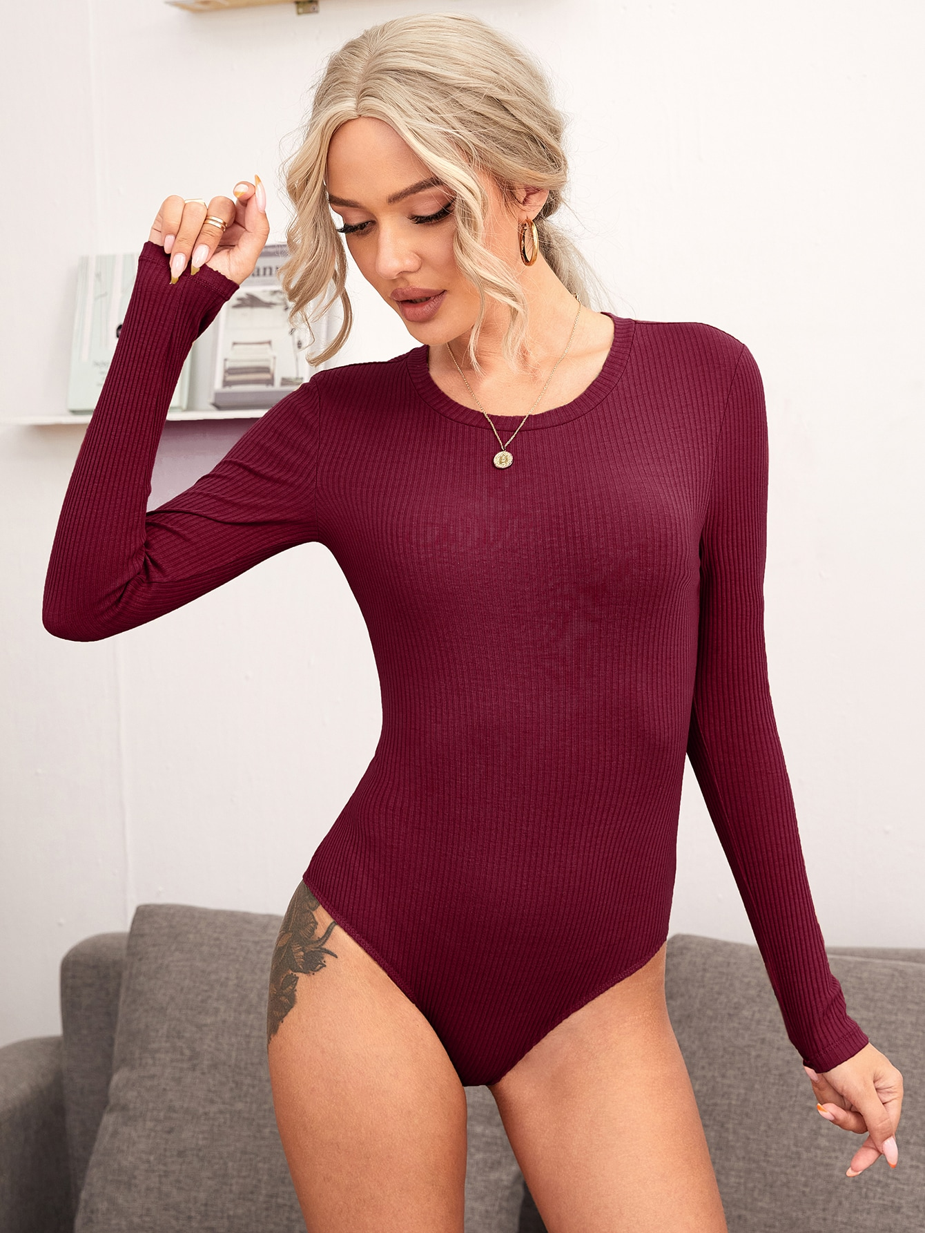 rib-knit solid bodysuit
