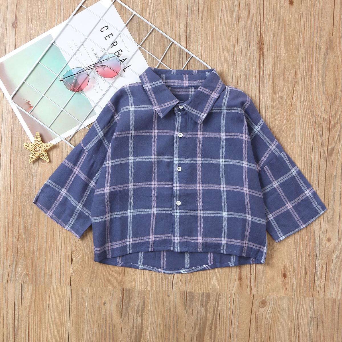 Пуговица клетчатый институтский блузы для девочек