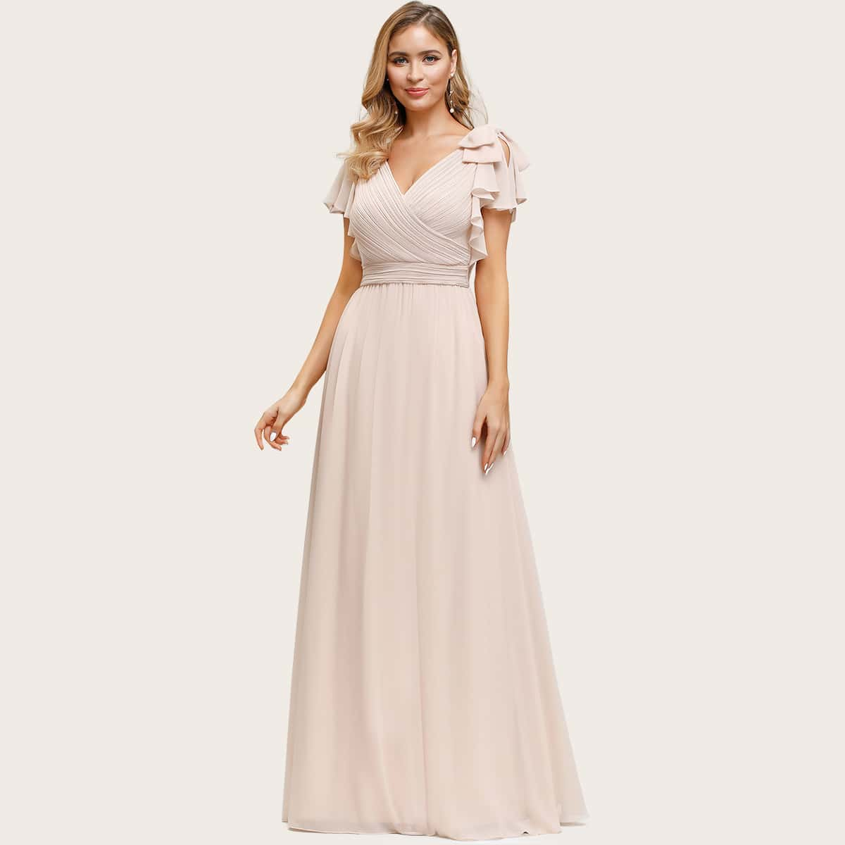 Butterfly Sleeve Ruched Bodice Chiffon Prom Dress