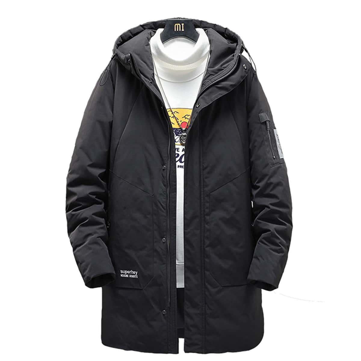 Мужское пуховое пальто с капюшоном и текстовым принтом