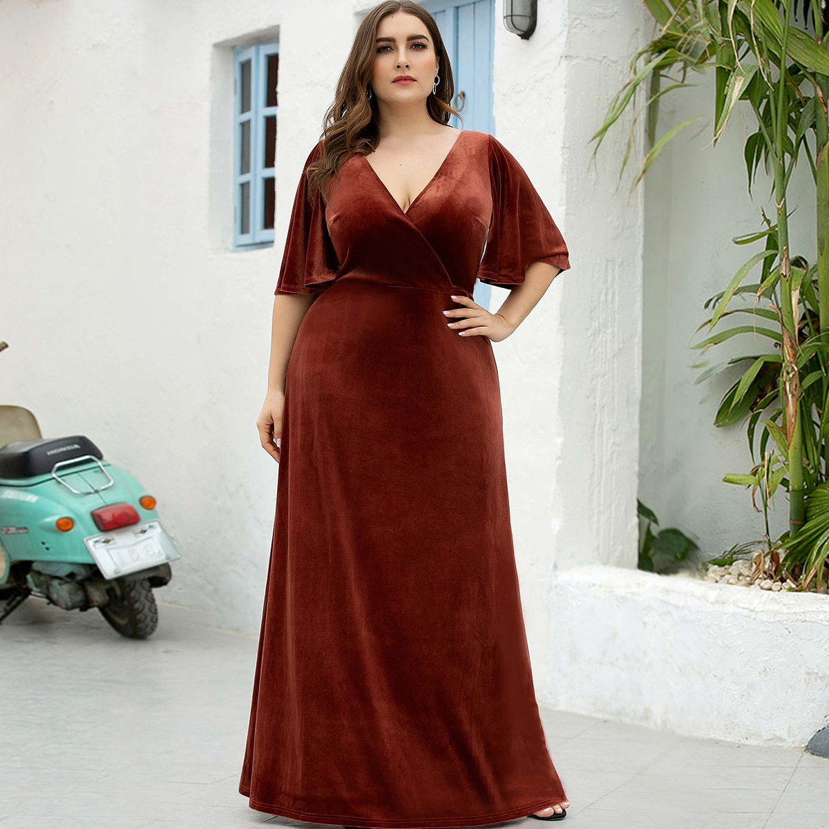 Застежка Одноцветный Очаровательный Платья размер плюс