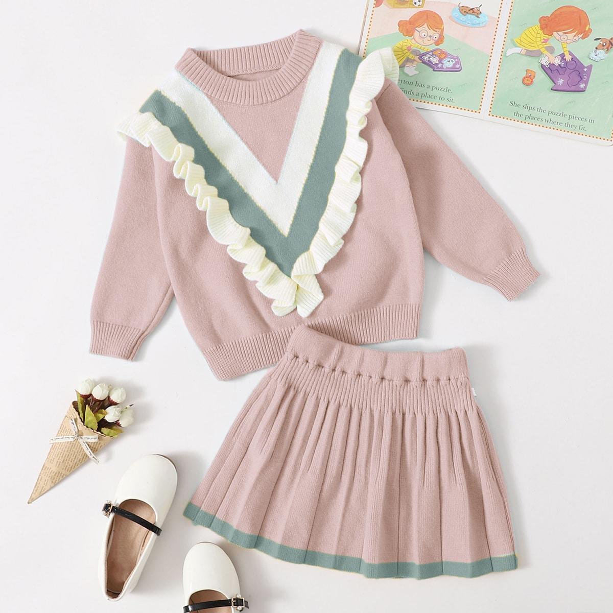 Свитер с оборкой и трикотажная юбка для девочек