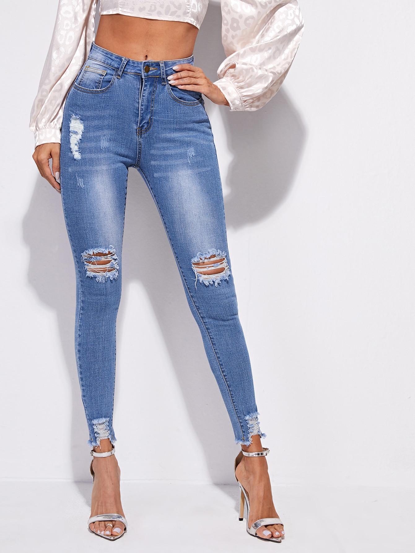 High Stretch Raw Hem Ripped Skinny Jeans thumbnail