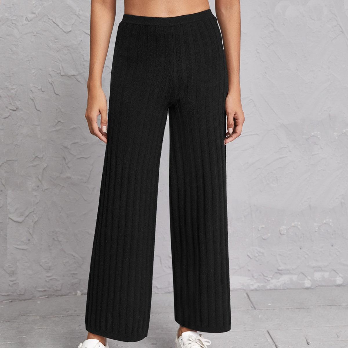 Вязаные брюки в рубчик с эластичной талией