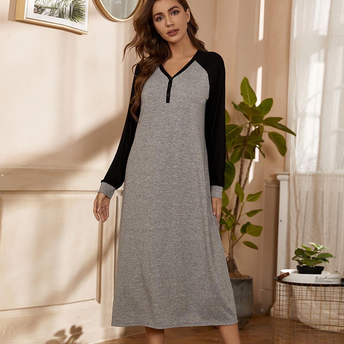 Пуговица контрастный цвет повседневный домашнее платье
