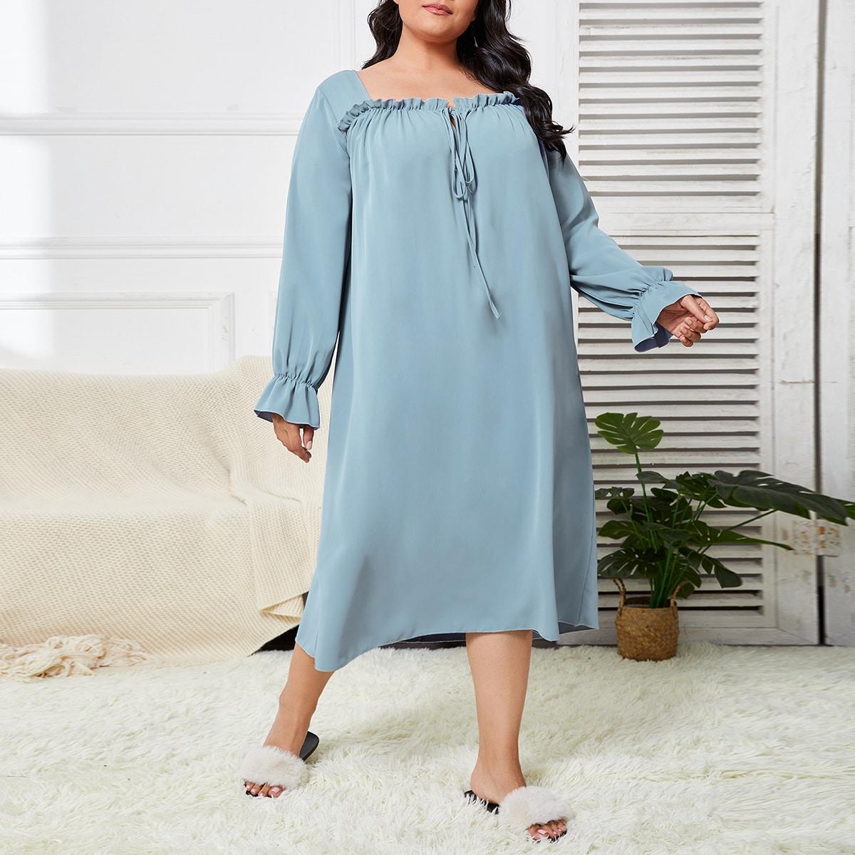 Пижама оверсайз с квадратным вырезом и оборками на шнуровке