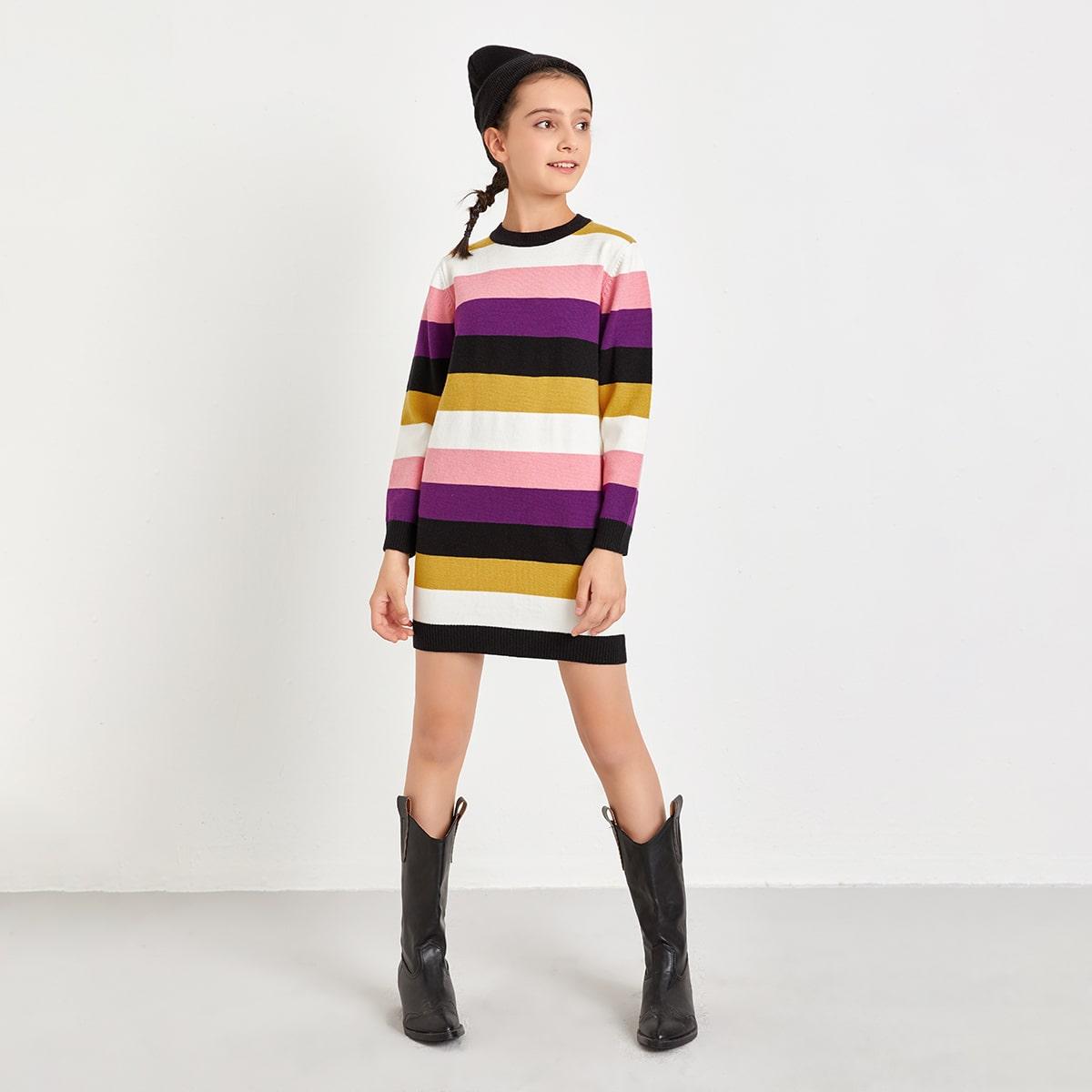 Контрастный цвет повседневный трикотажные платья для девочек